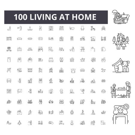 Living at home line icons, signs, vector set, outline concept illustration Illustration