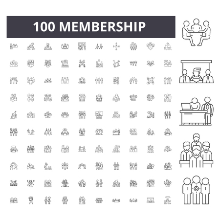 Membership line icons, signs, vector set, outline concept illustration