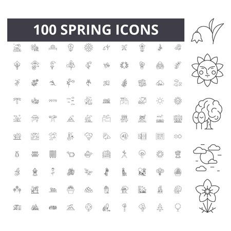 Spring line icons, signs, vector set, outline concept illustration