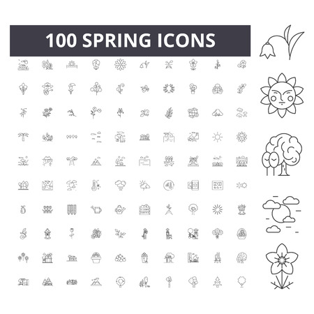 Spring line icons, signs, vector set, outline concept illustration