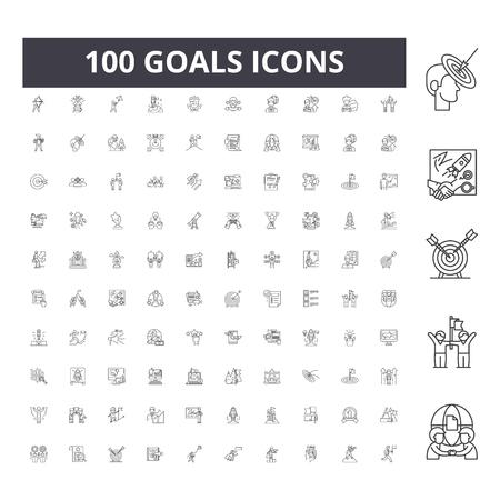 Iconos de línea de objetivos, signos, conjunto de vectores, ilustración del concepto de esquema