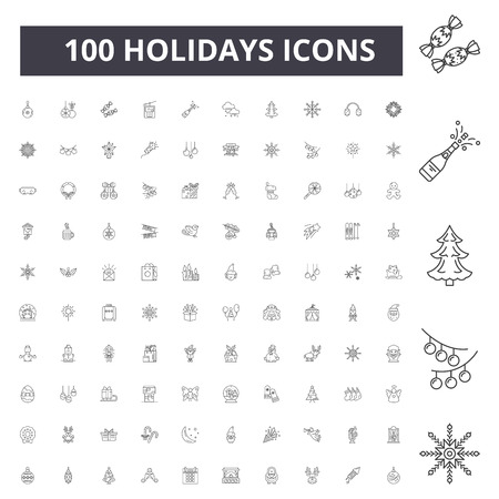Holidays line icons, signs, vector set, outline concept illustration