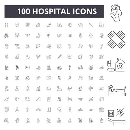 Hospital line icons, signs, vector set, outline concept illustration Illustration