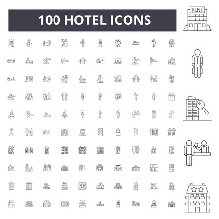 Icone della linea dell'hotel, segni, set di vettori, illustrazione del concetto di contorno