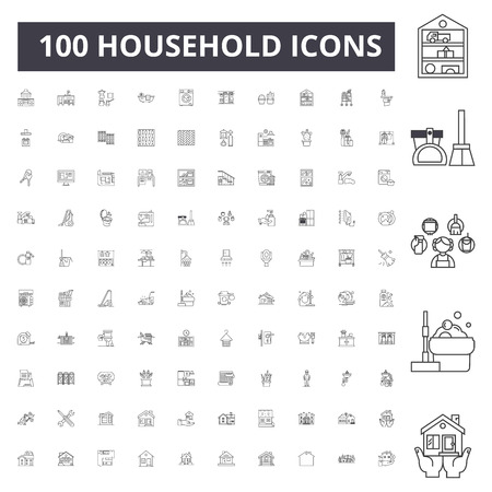 Household line icons, signs, vector set, outline concept illustration Çizim