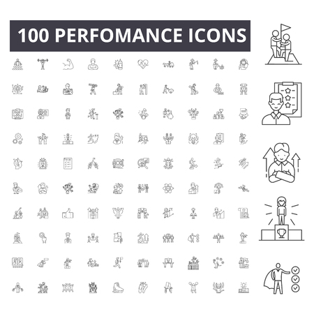 Perfomance line icons, signs, vector set, outline concept illustration  イラスト・ベクター素材