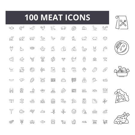 Meat line icons, signs, vector set, outline concept illustration  イラスト・ベクター素材