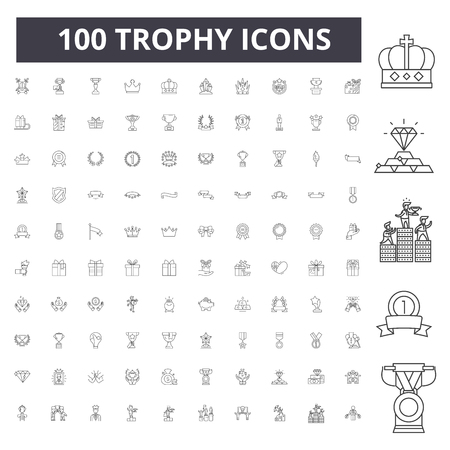 Trophy line icons, signs, vector set, outline concept illustration 스톡 콘텐츠 - 123722681