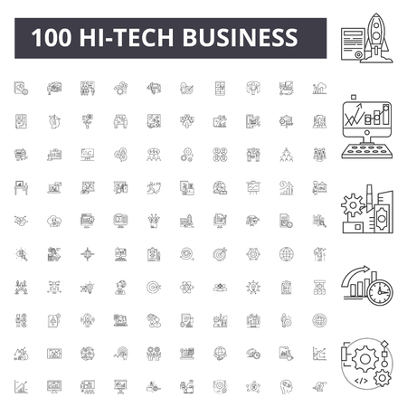 Hitech business line icons, signs, vector set, outline concept illustration