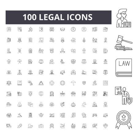Icônes de ligne juridique, signes, ensemble de vecteurs, illustration de concept de contour Vecteurs