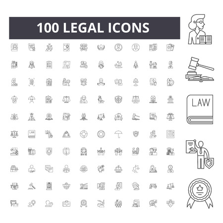 Legal line icons, signs, vector set, outline concept illustration Stock Illustratie