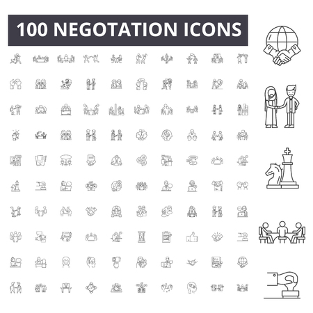 Negotation line icons, signs, vector set, outline concept illustration Stock Vector - 123722990