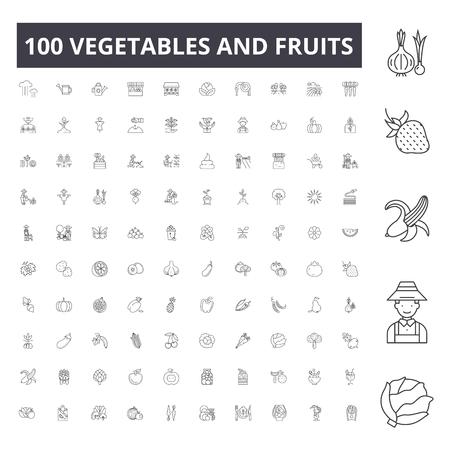 Vegetables and fruits line icons, signs, vector set, outline concept illustration Иллюстрация