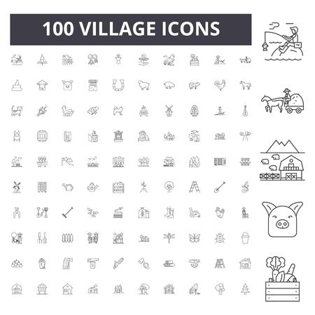Icone della linea del villaggio, segni, set di vettore, illustrazione del concetto di contorno