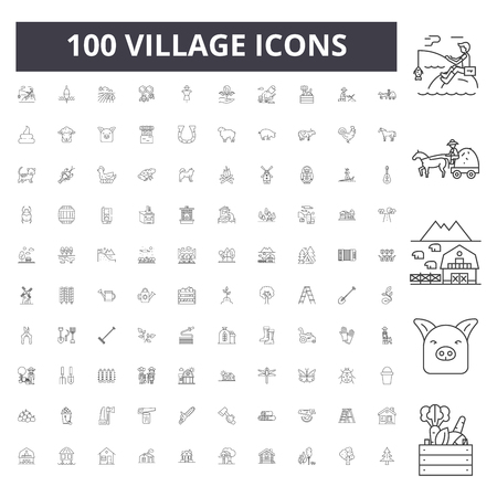 Village line icons, signs, vector set, outline concept illustration