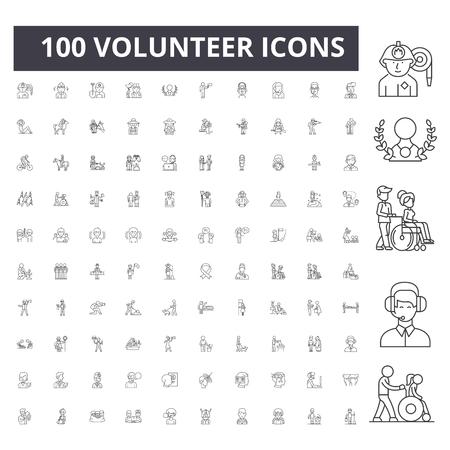 Volunteer line icons, signs, vector set, outline concept illustration Illustration
