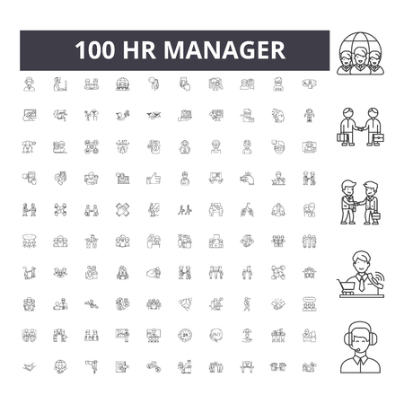 Hr manager line icons, signs, vector set, outline concept illustration