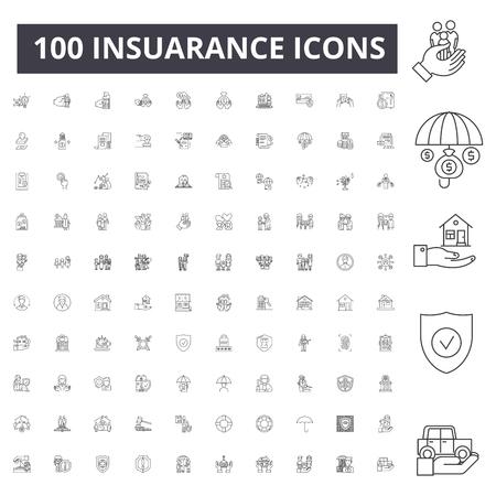 Insuarance line icons, signs, vector set, outline concept illustration Illustration