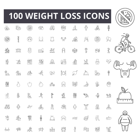 Weight loss line icons, signs, vector set, outline concept illustration Vetores