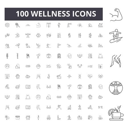 Iconos de línea de bienestar, signos, conjunto de vectores, ilustración del concepto de esquema