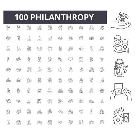 Philanthropie-Liniensymbole, Zeichen, Vektorsatz, Entwurfskonzeptillustration Vektorgrafik