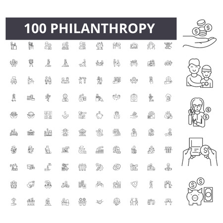 Philanthropy line icons, signs, vector set, outline concept illustration