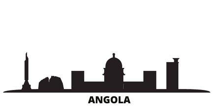 Angola city skyline isolated vector illustration. Angola travel cityscape with landmarks