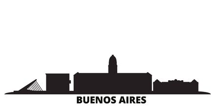 Argentina, Buenos Aires city skyline isolated vector illustration. Argentina, Buenos Aires travel cityscape with landmarks 일러스트