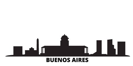Argentina, Buenos Aires City city skyline isolated vector illustration. Argentina, Buenos Aires City travel cityscape with landmarks