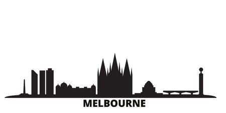 Australia, Melbourne city skyline isolated vector illustration. Australia, Melbourne travel cityscape with landmarks Ilustração