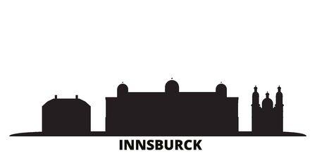 Austria, Innsburck city skyline isolated vector illustration. Austria, Innsburck travel cityscape with landmarks