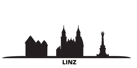 Austria, Linz city skyline isolated vector illustration. Austria, Linz travel cityscape with landmarks