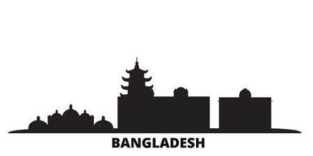 Bangladesh, Chittagong city skyline isolated vector illustration. Bangladesh, Chittagong travel cityscape with landmarks