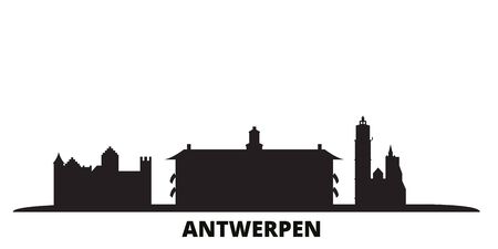 Belgium, Antwerpen city skyline isolated vector illustration. Belgium, Antwerpen travel cityscape with landmarks