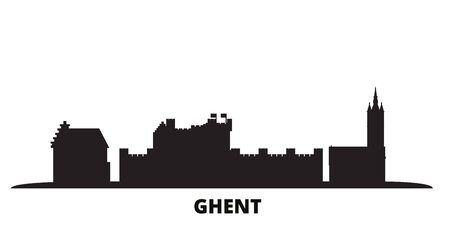 Belgium, Ghent city skyline isolated vector illustration. Belgium, Ghent travel cityscape with landmarks