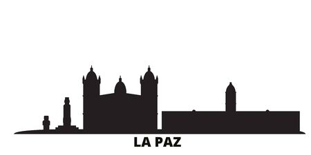 Bolivia , La Paz city skyline isolated vector illustration. Bolivia , La Paz travel cityscape with landmarks