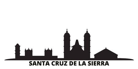 Bolivia, Santa Cruz De La Sierra city skyline isolated vector illustration. Bolivia, Santa Cruz De La Sierra travel cityscape with landmarks