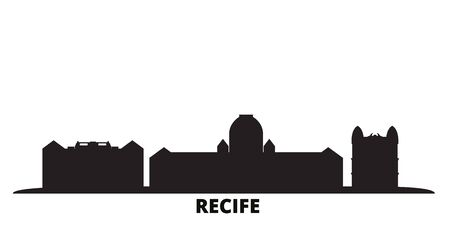 Brazil , Recife city skyline isolated vector illustration. Brazil , Recife travel cityscape with landmarks