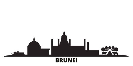 Brunei city skyline isolated vector illustration. Brunei travel cityscape with landmarks