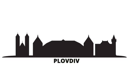 Bulgaria, Plovdiv city skyline isolated vector illustration. Bulgaria, Plovdiv travel cityscape with landmarks