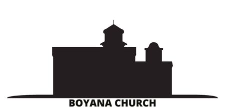 Bulgaria, Sofia, Boyana Church city skyline isolated vector illustration. Bulgaria, Sofia, Boyana Church travel cityscape with landmarks Ilustração