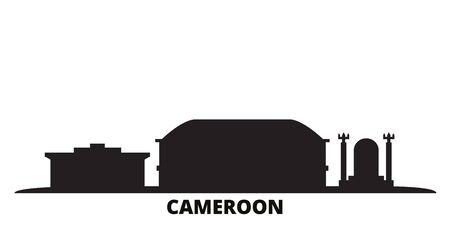 Cameroon city skyline isolated vector illustration. Cameroon travel cityscape with landmarks