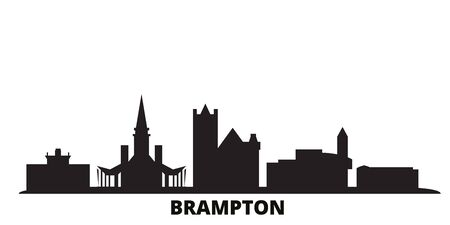 Canada, Brampton city skyline isolated vector illustration. Canada, Brampton travel cityscape with landmarks 일러스트