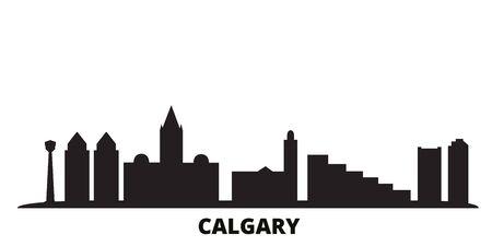Canada, Calgary city skyline isolated vector illustration. Canada, Calgary travel cityscape with landmarks