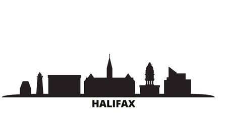 Canada, Halifax city skyline isolated vector illustration. Canada, Halifax travel cityscape with landmarks