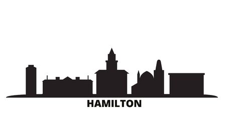 Canada, Hamilton city skyline isolated vector illustration. Canada, Hamilton travel cityscape with landmarks