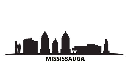 Canada, Mississauga city skyline isolated vector illustration. Canada, Mississauga travel cityscape with landmarks