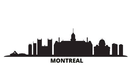 Canada, Montreal city skyline isolated vector illustration. Canada, Montreal travel cityscape with landmarks
