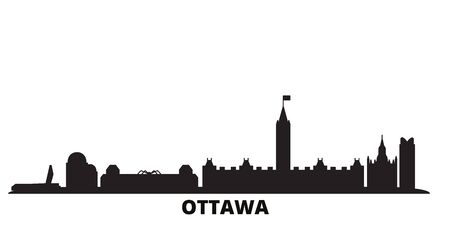 Canada, Ottawa city skyline isolated vector illustration. Canada, Ottawa travel cityscape with landmarks 일러스트