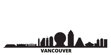 Canada, Vancouver city skyline isolated vector illustration. Canada, Vancouver travel cityscape with landmarks